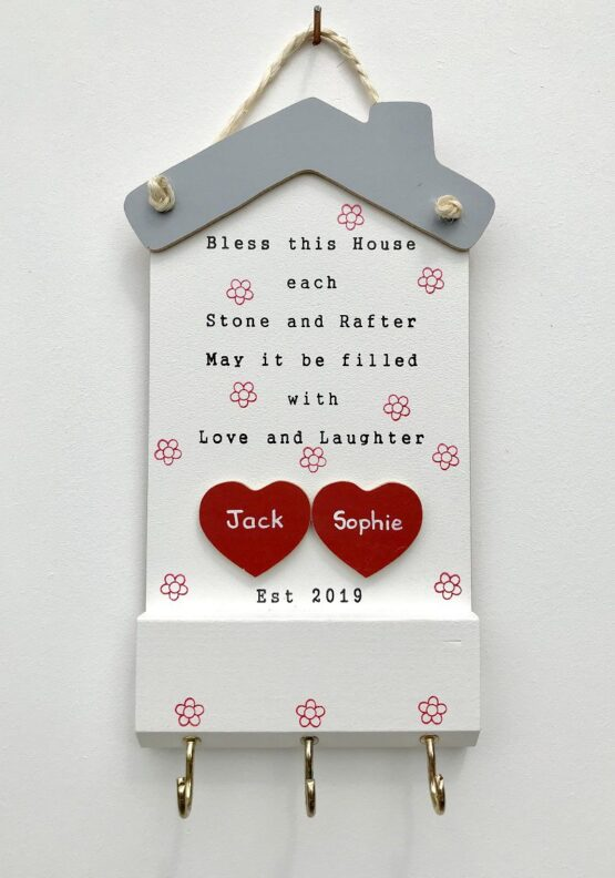 Bless this House Keyholder 2 Hearts Face on View