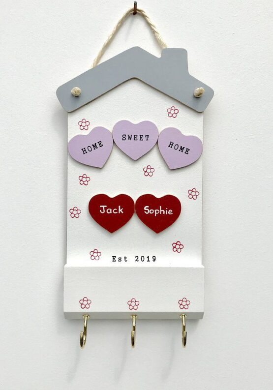 Home Sweet Home Keyholder Two Hearts Face on View