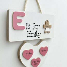 Letter Baby Plaque Pink