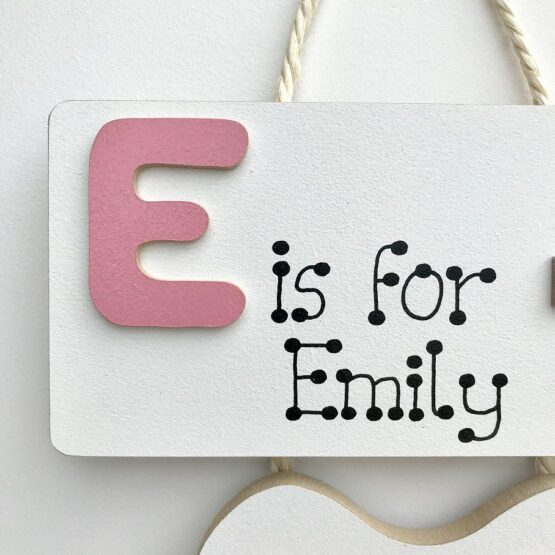 Letter Baby Plaque Pink Close up on letter