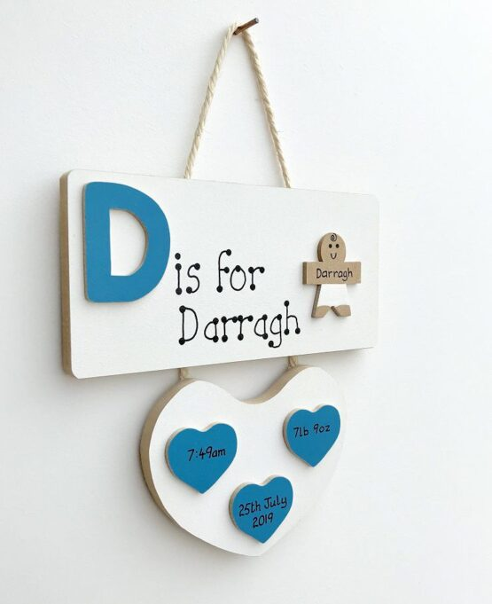 Letter Baby Plaque Blue