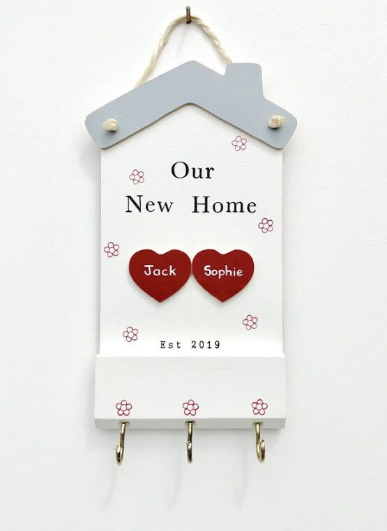 Our New Home 2 Hearts Keyholder Face on View