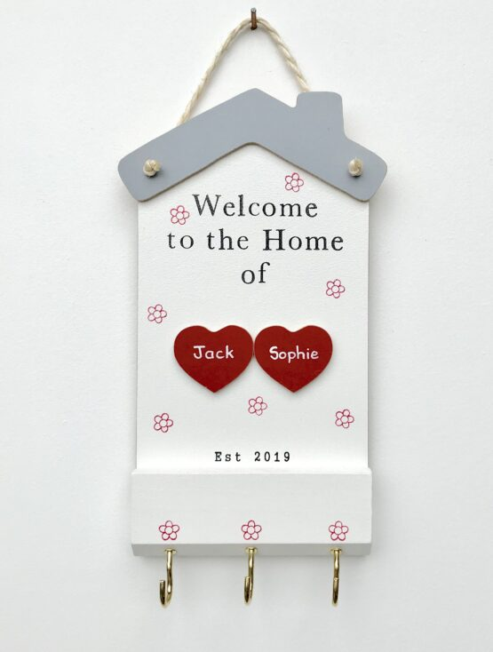 Welcome to the Home Plaque 2 Hearts Face on View